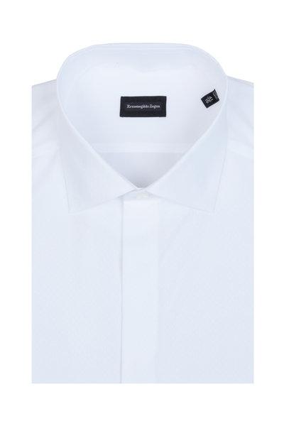 Ermenegildo Zegna - White Jacquard Diamond Dress Shirt