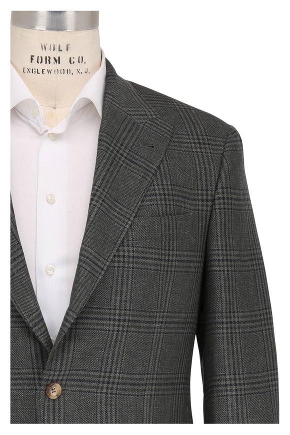 Brunello Cucinelli Dark Green Linen Blend Plaid Peak Lapel Sportcoat