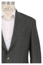 Brunello Cucinelli - Dark Green Linen Blend Plaid Peak Lapel Sportcoat