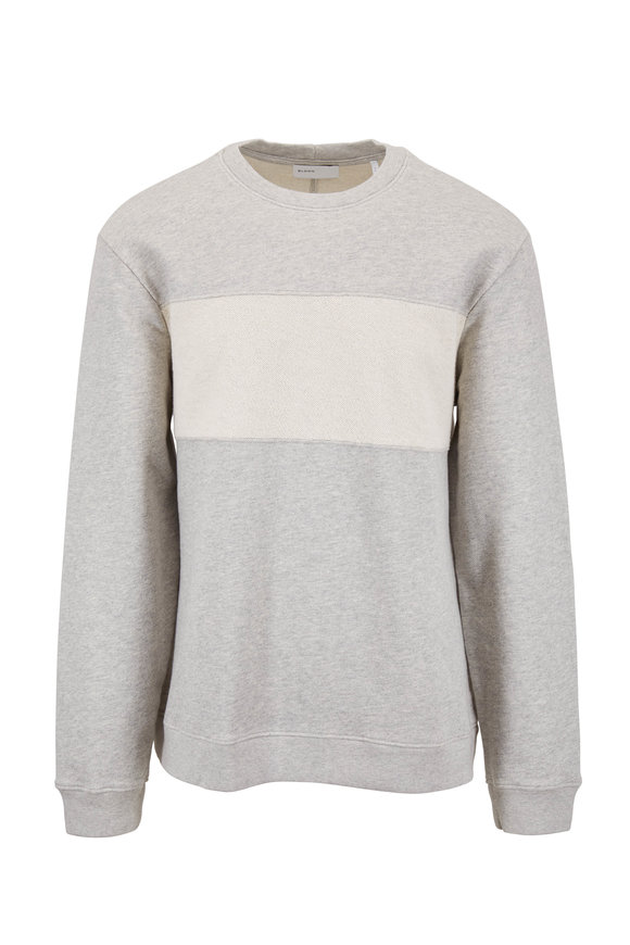 BLDWN Jens Heather Gray & Ivory Stripe Pullover