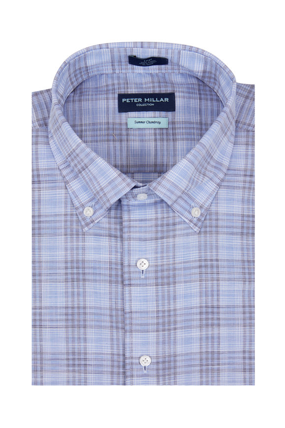 Peter Millar Summer Chambray Blue Plaid Sport Shirt
