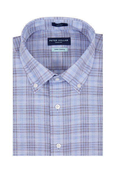 Peter Millar - Summer Chambray Blue Plaid Sport Shirt