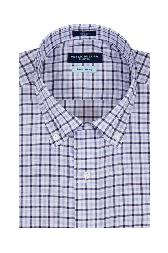 Peter Millar Summer Chambray Navy Plaid Sport Shirt