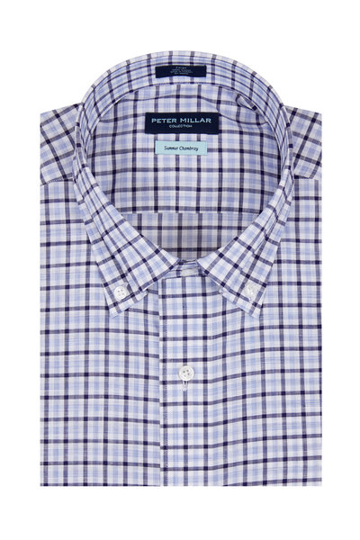 Peter Millar - Summer Chambray Navy Plaid Sport Shirt