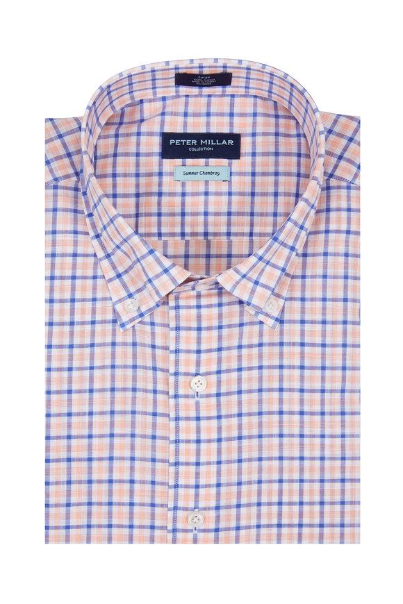 Peter Millar Summer Chambray Orange & Navy Plaid Sport Shirt