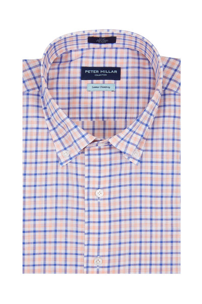 Peter Millar - Summer Chambray Orange & Navy Plaid Sport Shirt