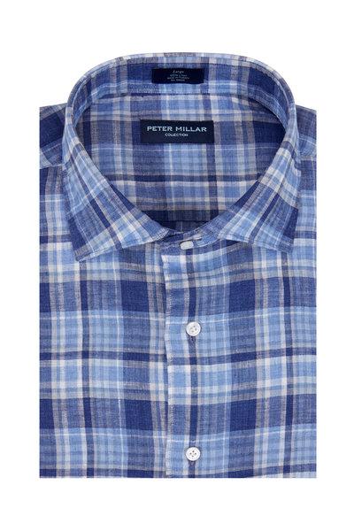 Peter Millar - Surf Rider Navy Blue Plaid Linen Sport Shirt