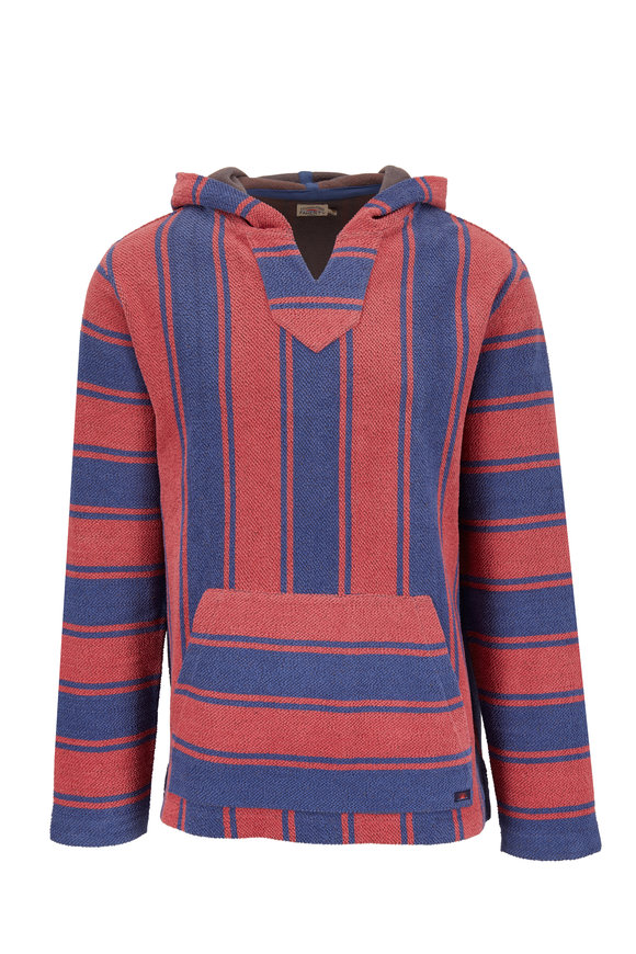 Faherty Brand Terry Baja Red & Blue Poncho