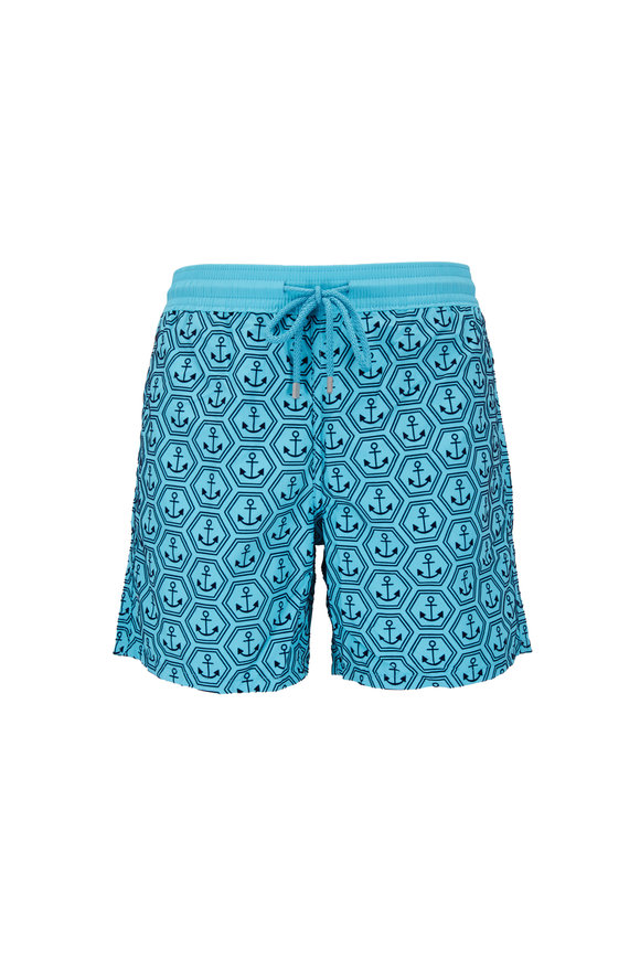 Vilebrequin Moorea Blue Anchors Swim Trunks