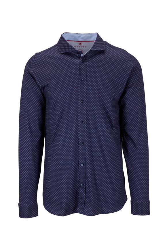 Desoto Navy Blue & Red Geo & Dot Print Knit Shirt