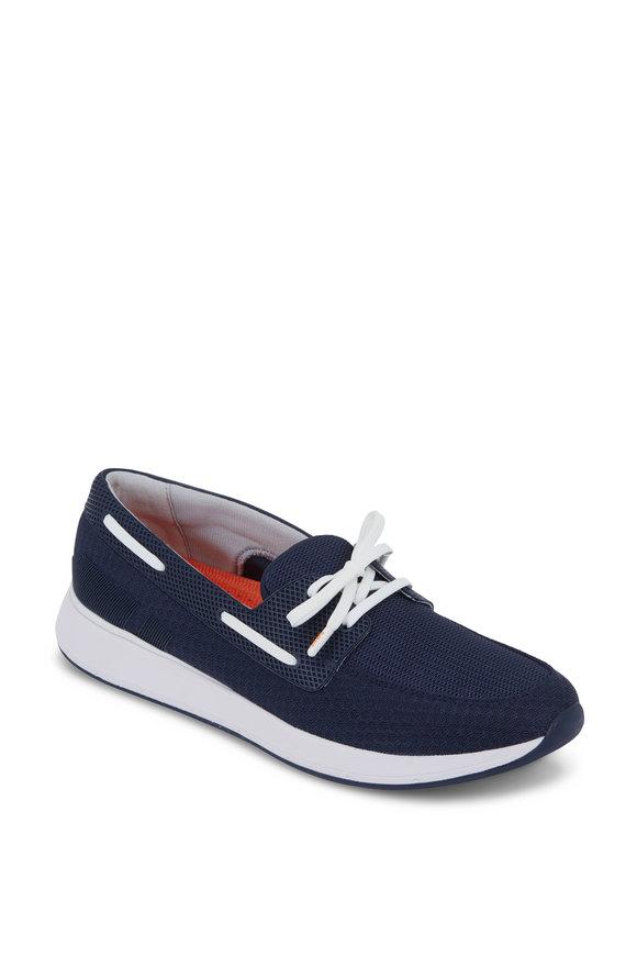 Swims Breeze Navy Blue Mesh Boat Shoe