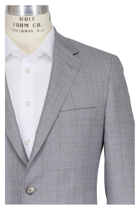 Samuelsohn Grey & Tan Wool Windowpane Suit