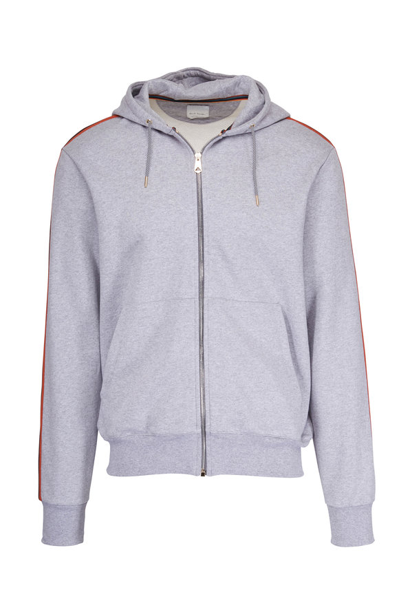 Paul Smith Grey & Multicolor Striped Full-Zip Hoodie