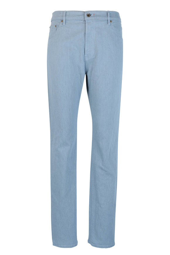 Raleigh Denim Martin Sky Blue Stretch Cotton Five Pocket Jean