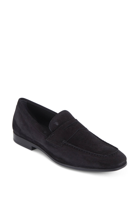 Tod's Gomma Black Suede Penny Loafer