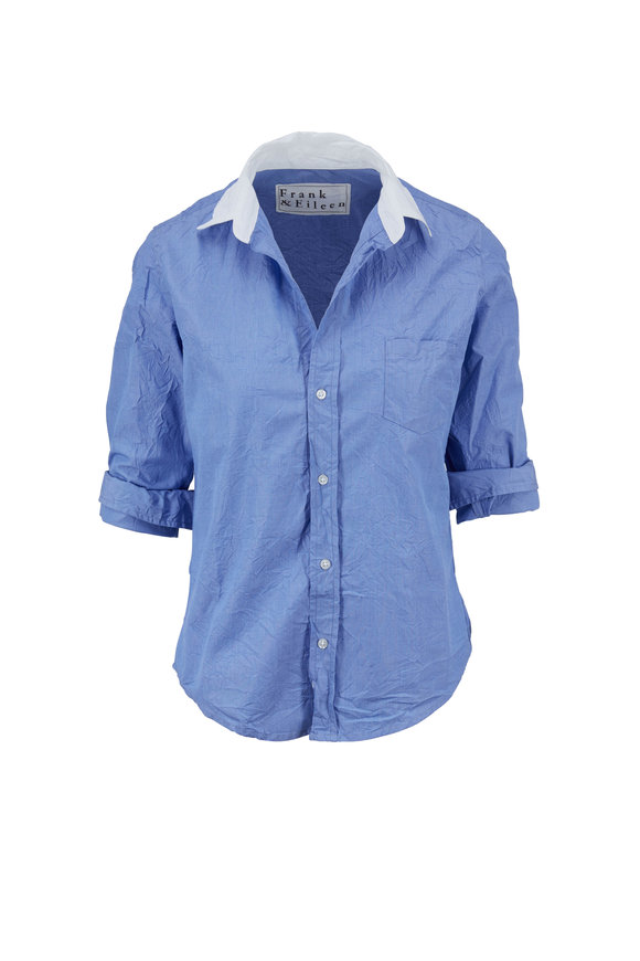 Frank & Eileen Barry Crinkled Blue & White Collar Button Down