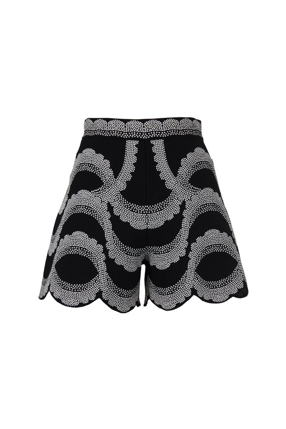 Alexander McQueen Black & Ivory Victorian Bead Jacquard Shorts