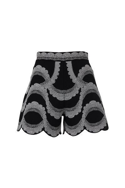 Alexander McQueen - Black & Ivory Victorian Bead Jacquard Shorts