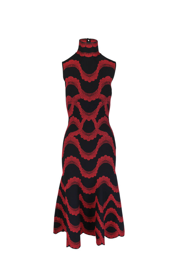 Alexander McQueen Black & Red Jacquard Knit Midi Dress