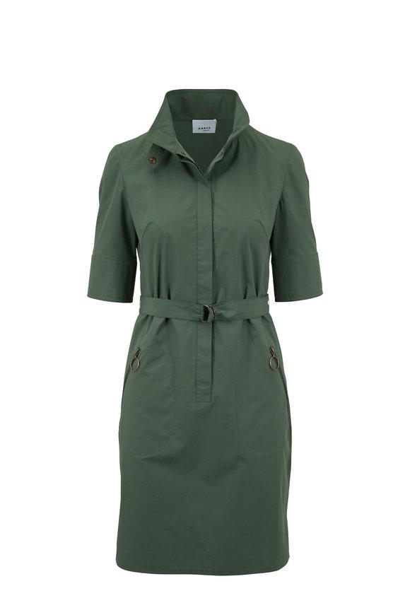 Akris Punto Alloro Green Cotton Short Sleeve Dress