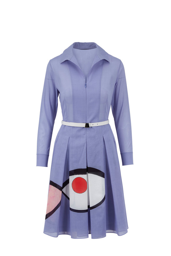 Akris Mauve Wink Print Belted Shirtdress