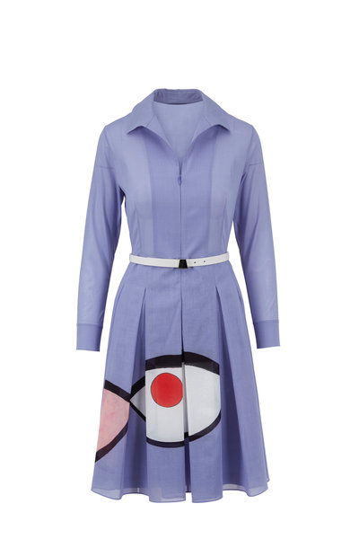Akris - Mauve Wink Print Belted Shirtdress