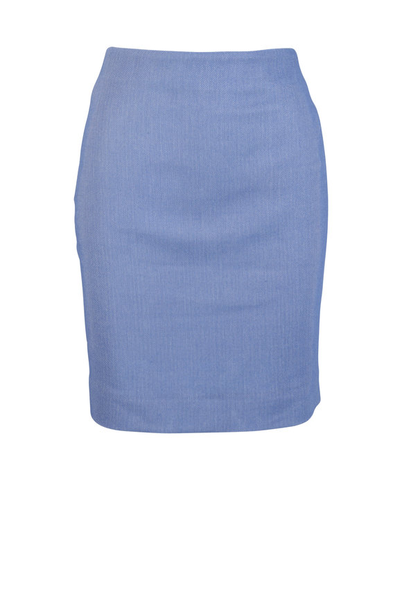 Akris Periwinkle Wool Blend Pique Skirt