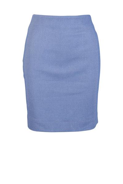 Akris - Periwinkle Wool Blend Pique Skirt