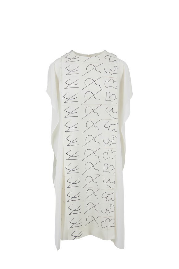Akris Paper Leporello Print Cape-Style Shift Dress
