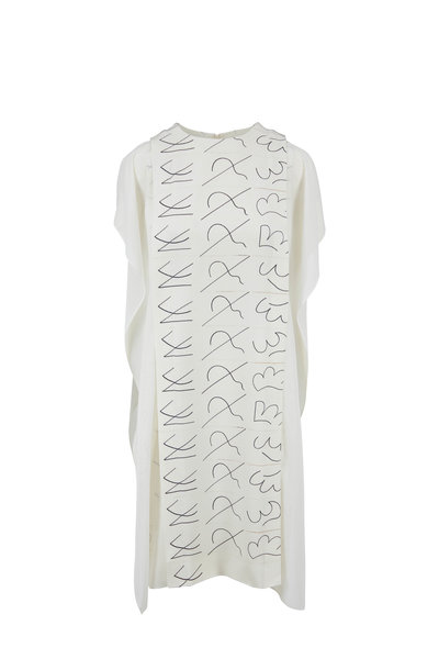 Akris - Paper Leporello Print Cape-Style Shift Dress