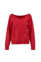 Nili Lotan - Tiara Red Distressed V-Neck Sweatshirt