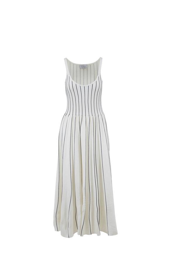 Gabriela Hearst Zeleia Navy Tipped White Stretch Wool Knit Dress