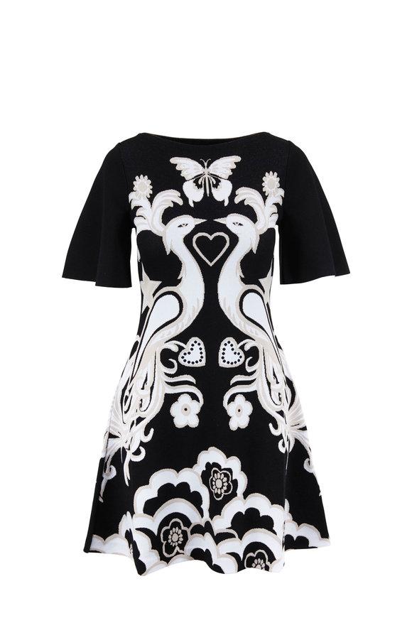 Valentino Black & Ivory Peacock Jacquard Fenice Knit Dress