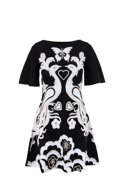 Valentino - Black & Ivory Peacock Jacquard Fenice Knit Dress