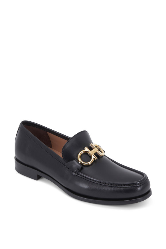 Salvatore Ferragamo Rolo Black Leather Bit Loafer