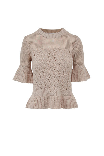 See by Chloé - Soft Taupe Cotton Bell Cuff Knit Sweater