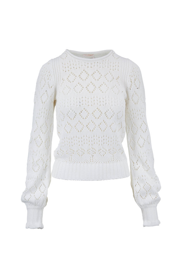 See by Chloé White Powder Cotton Knit Sweater