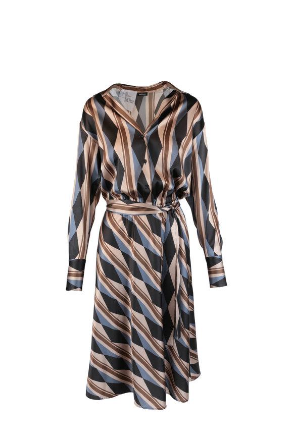 Kiton Bronze Striped Silk Belted Midi Dress