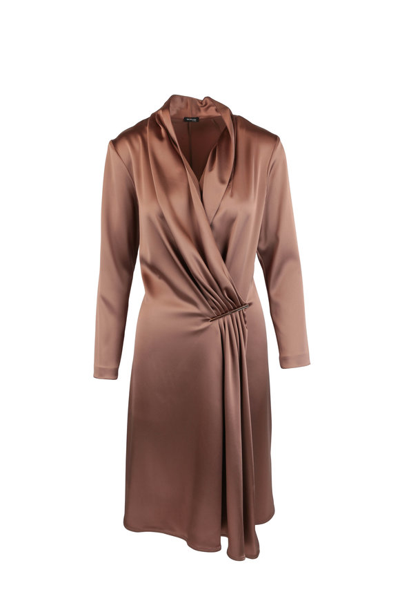 Kiton Bronze V-Neck Pleat Front Dress
