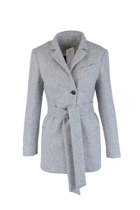 Kiton Gray Herringbone Cashmere & Silk Jacket