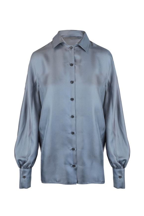 Kiton Solid Gray Silk Blouse
