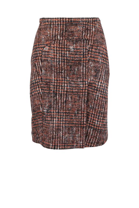 Kiton Orange Wool & Alpaca Blend Tweed Skirt