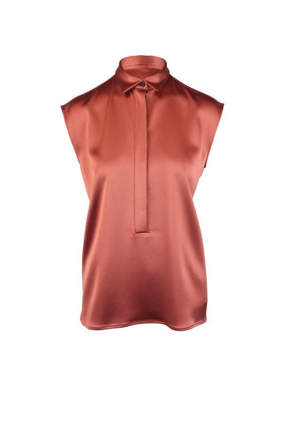 Kiton Bronze Sleeveless Button Down Blouse