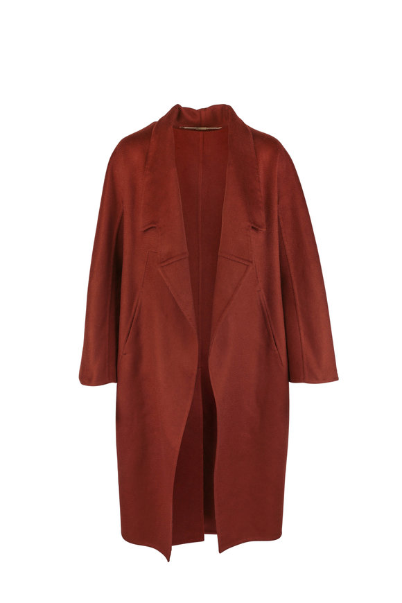 Kiton Rust Cashmere Open Front Coat
