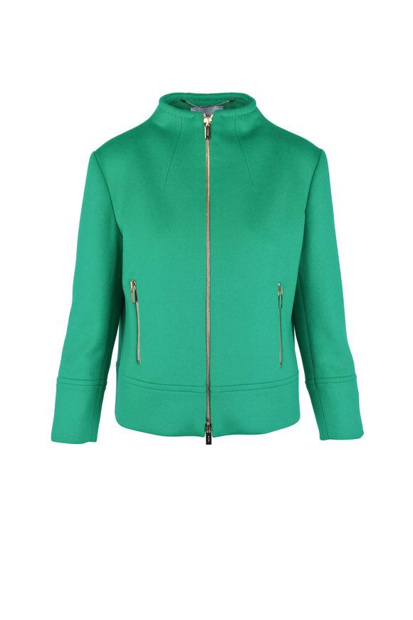 Kiton Green Cashmere Zip Front Jacket