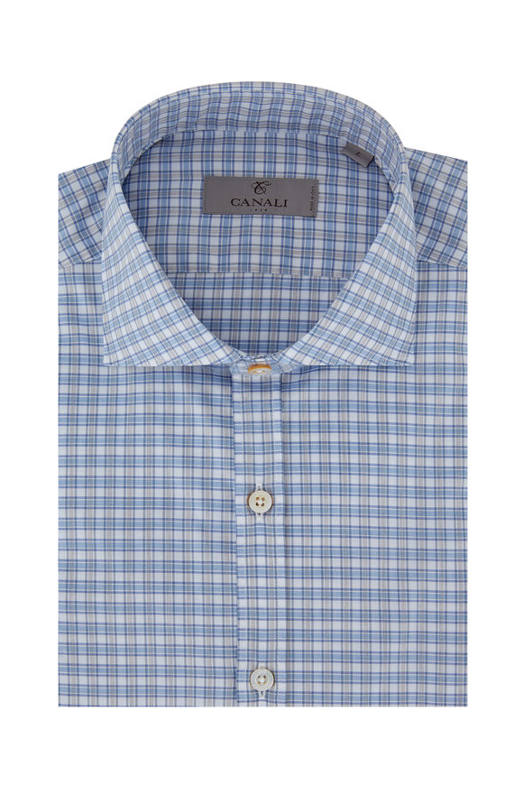 Canali Light Blue & Gray Plaid Modern Fit Sport Shirt