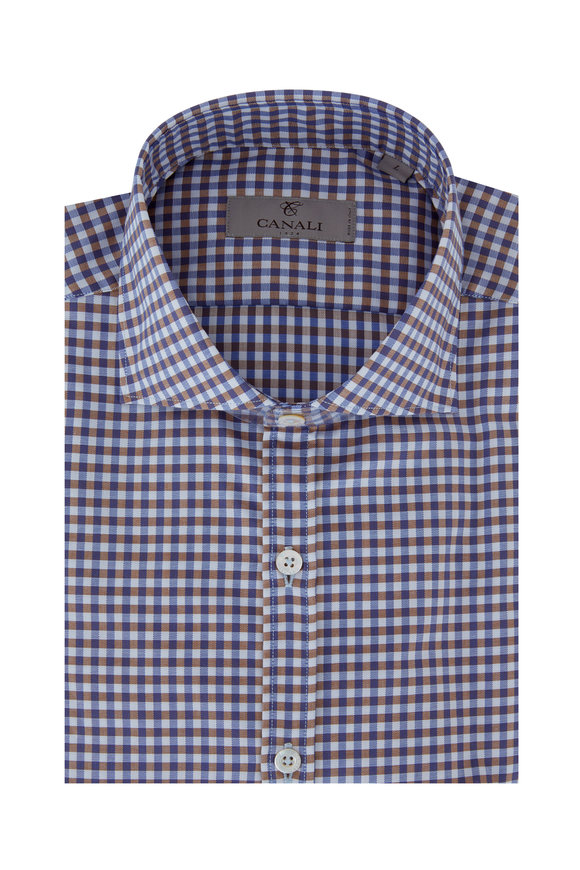 Canali Blue & Brown Gingham Modern Fit Sport Shirt