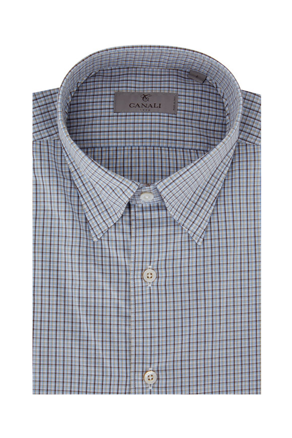 Canali Blue & Brown Plaid Modern Fit Sport Shirt