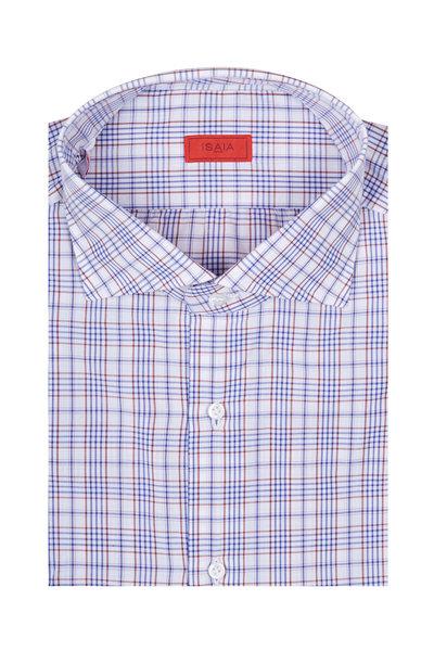 Isaia - Brown & Blue Plaid Dress Shirt