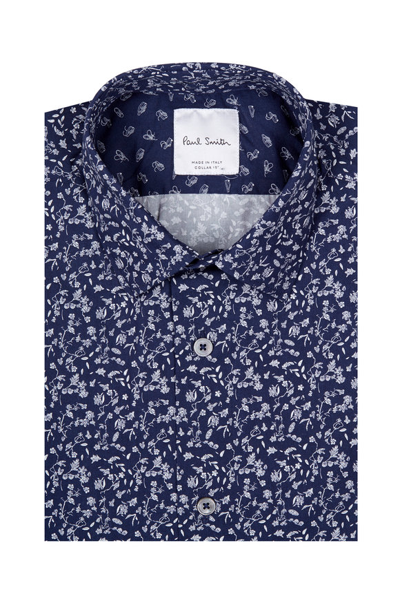 Paul Smith Navy Blue Floral Dress Shirt